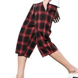 DANTILE™️  Capri Plaid Shorts Black & Red